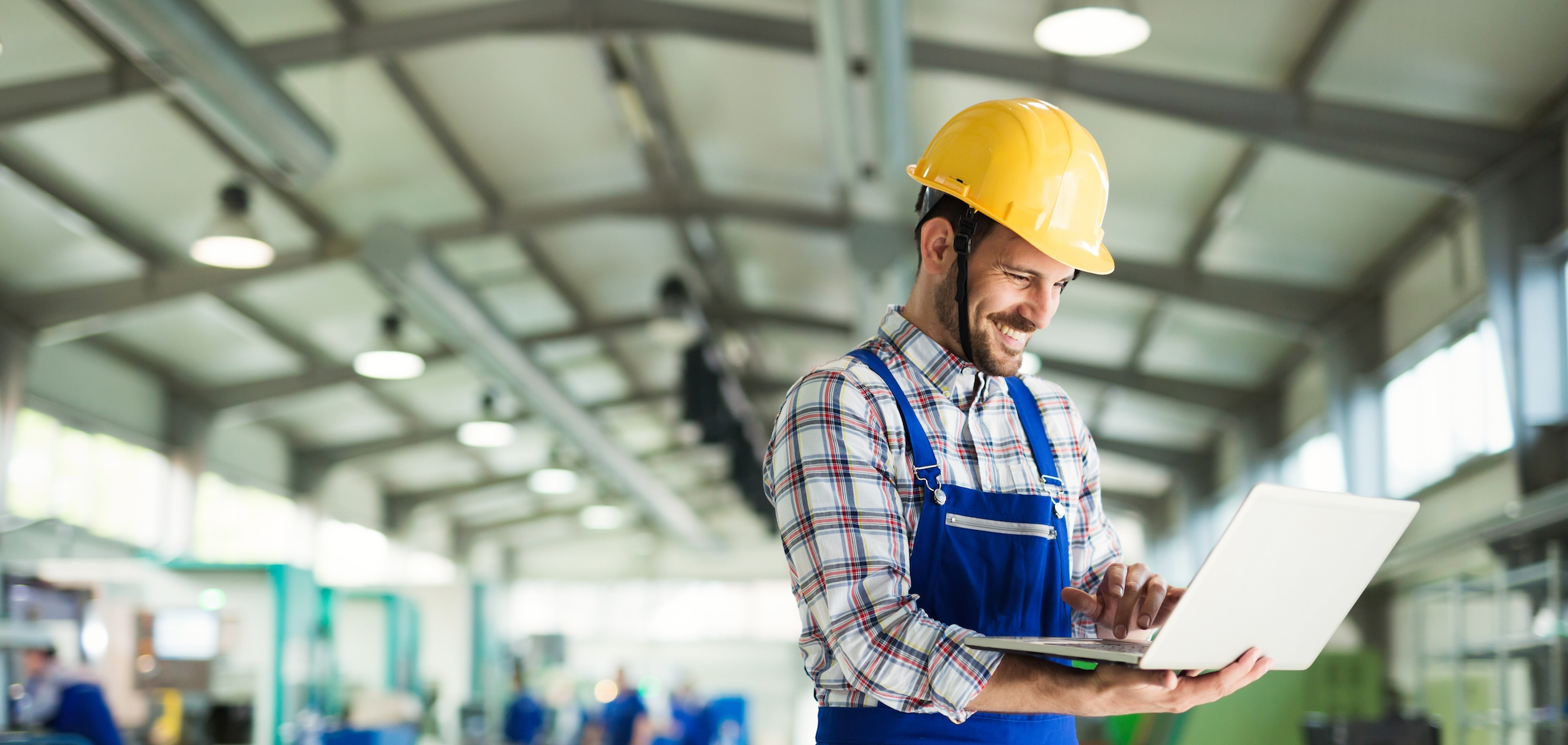 manufacturing plant happy because marketing growth